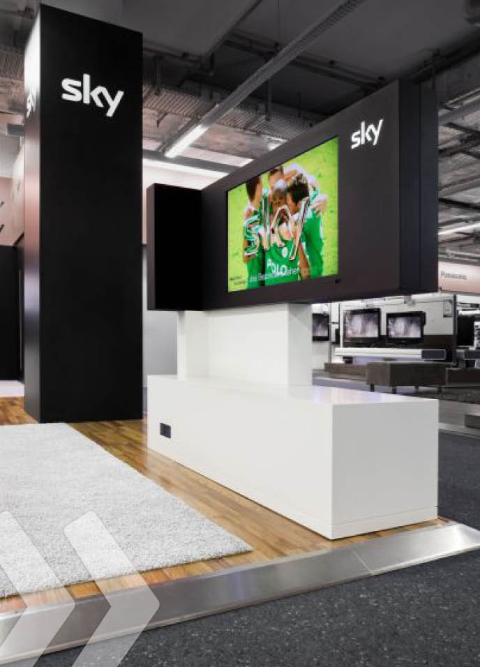 sky 03 shop in shop digital signage am pos Ladeneinrichtung