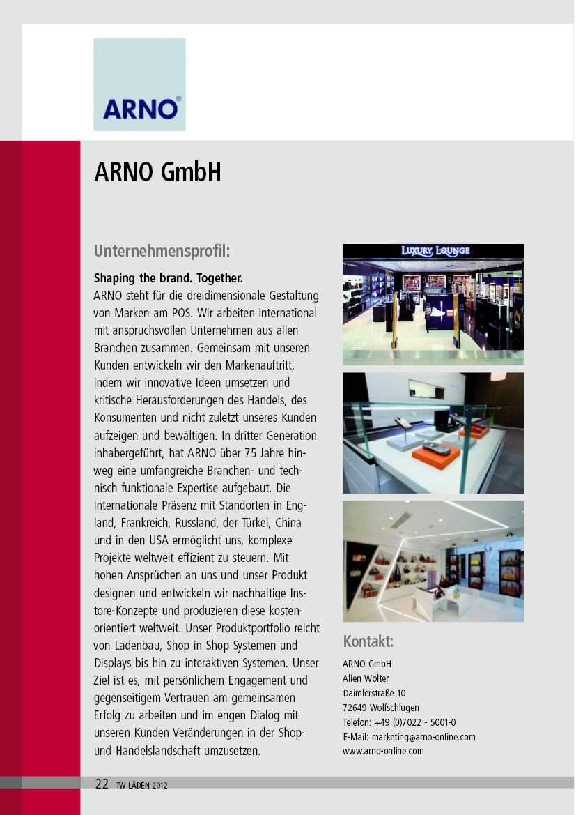 ARNO in the TextilWirtschaft Läden Guide