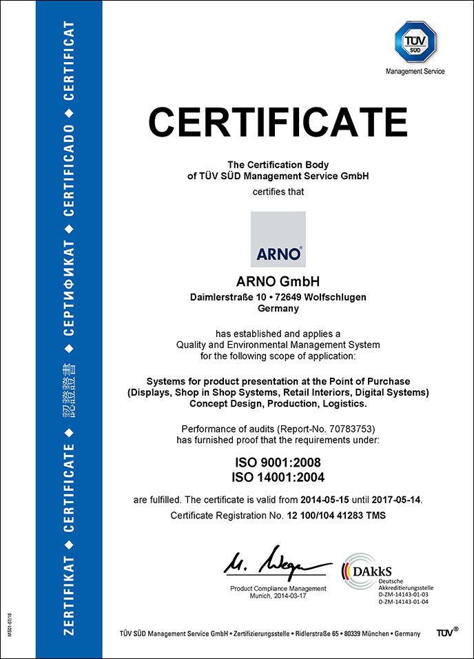 TÜV renews ARNOs ISO certifications